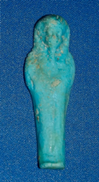 "A small but attractive Ancient Egyptian deep turquoise glazed faience ""Ushabti"" figure. SOLD"